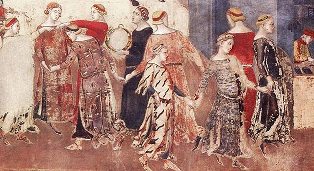 Ambrogio Lorenzetti: dettaglio dell'allegoria Allegoria del Buon Governo (1338-1339), Palazzo Pubblico, Siena [wikipedia]