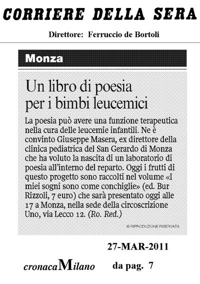 Corriere della Sera I miei sogni son come conchiglie 27-mar-11
