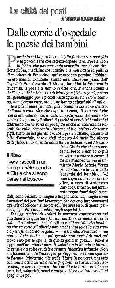 Corriere della Sera 11.05.11 le poesie dei bambini
