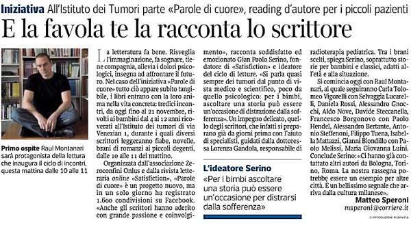 E la favola te la racconta lo scrittore - Corriere della Sera 11.04.13