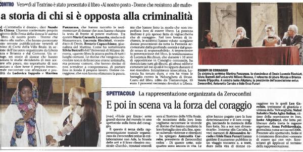 Giornale di Monza Viole per Enza 12.03.13