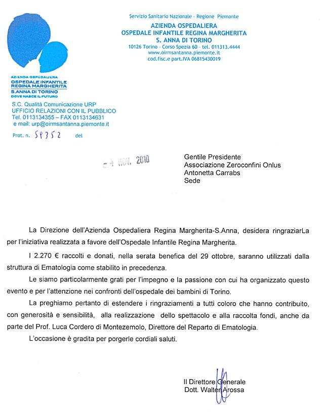 Ospedale Infantile Regina Margherita S.Anna Torino, ringraziamento