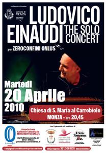 Ludovico Einaudi in concerto per Zeroconfini, 20 aprile 2010 (locandina)