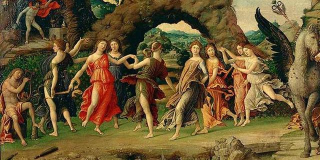 Parnaso (Apollo, Venere, Mercurio e le Muse), di Andrea Mantegna