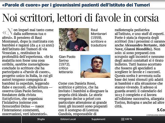Parole di cuore Noi scrittori, lettori di favole - Corriere della Sera 31.05.2013