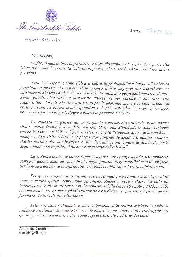 Lettera delk Ministro Beatrice Lorenzin in occasione dell'evento Viole per Enza a Milano