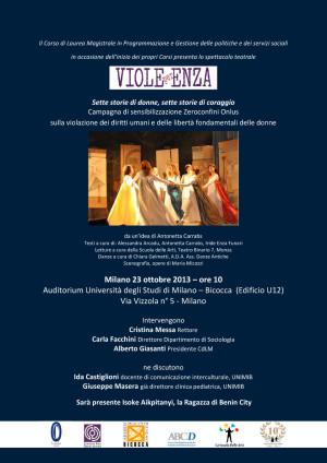 Zeroconfini Viole per Enza - Bicocca 23 ottobre 2013 - Locandina